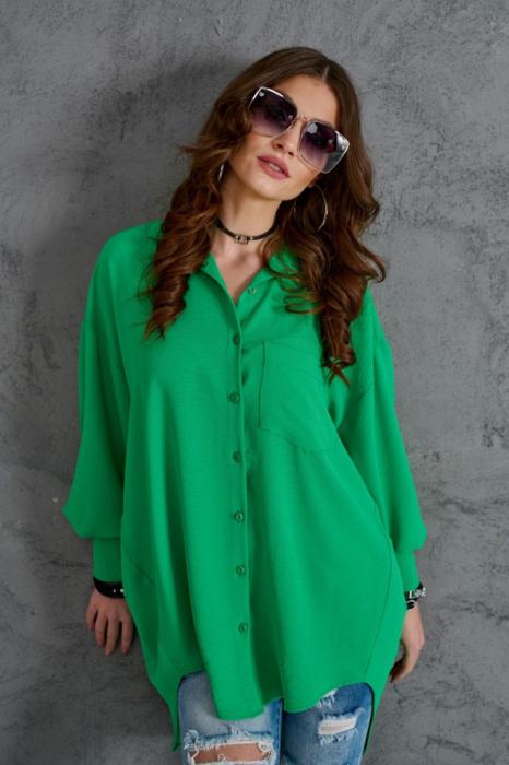 Camasa lunga dama cu croiala asimetrica verde 2