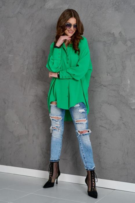Camasa lunga dama cu croiala asimetrica verde 1