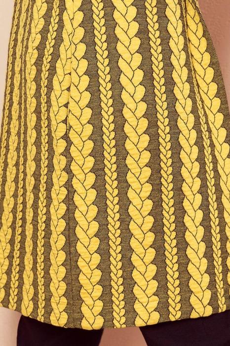 Cardigan dama lung - Cardigan lung cu gluga Numoco galben mustar 3