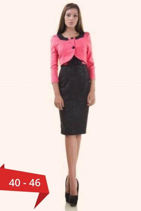 Compleuri elegante - Compleu dama compus din rochie midi si taior, negru/ciclam 0