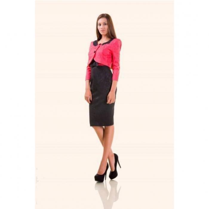 Compleuri elegante - Compleu dama compus din rochie midi si taior, negru/ciclam 1