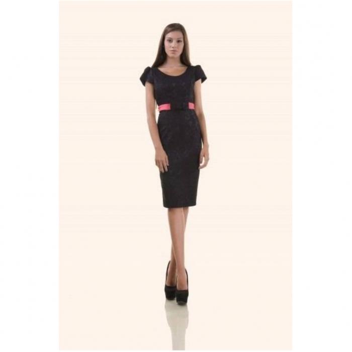 Compleuri elegante - Compleu dama compus din rochie midi si taior, negru/ciclam 2