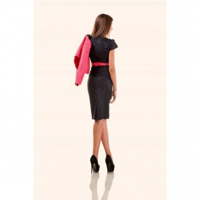 Compleuri elegante - Compleu dama compus din rochie midi si taior, negru/ciclam 3