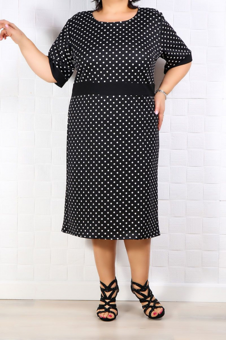 Compleu dama elegant cu rochie si sacou negru cu buline 2