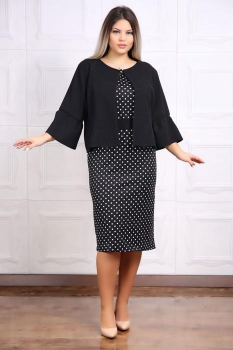 Compleu dama elegant cu rochie si sacou negru cu buline 0