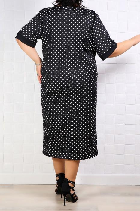 Compleu dama elegant cu rochie si sacou negru cu buline 3