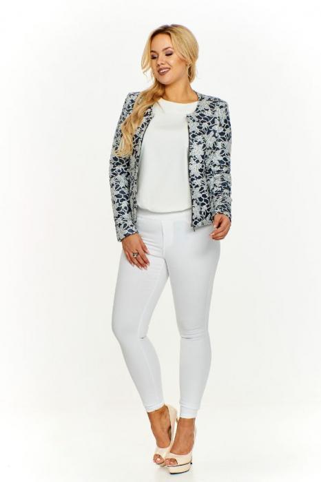 Jacheta scurta cu fermoar imprimeu floral albastru 3