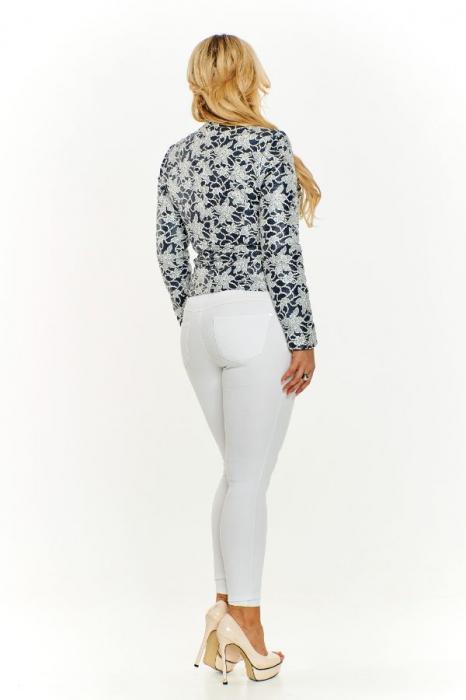 Jacheta scurta cu fermoar imprimeu floral albastru 2