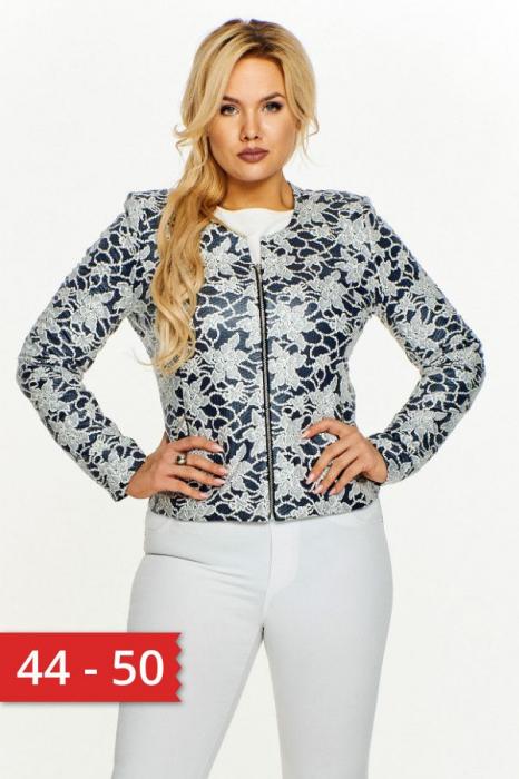 Jacheta scurta cu fermoar imprimeu floral albastru 0