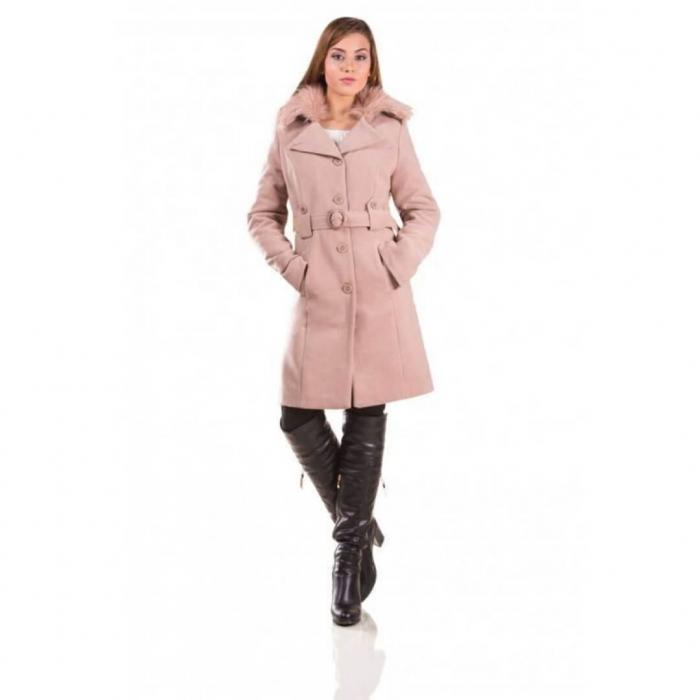 Palton de iarna cu guler imblanit Marina, cappuccino 0