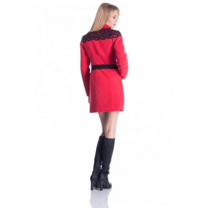 Palton rosu din stofa cu dantela neagra - Palton dama ieftin 1