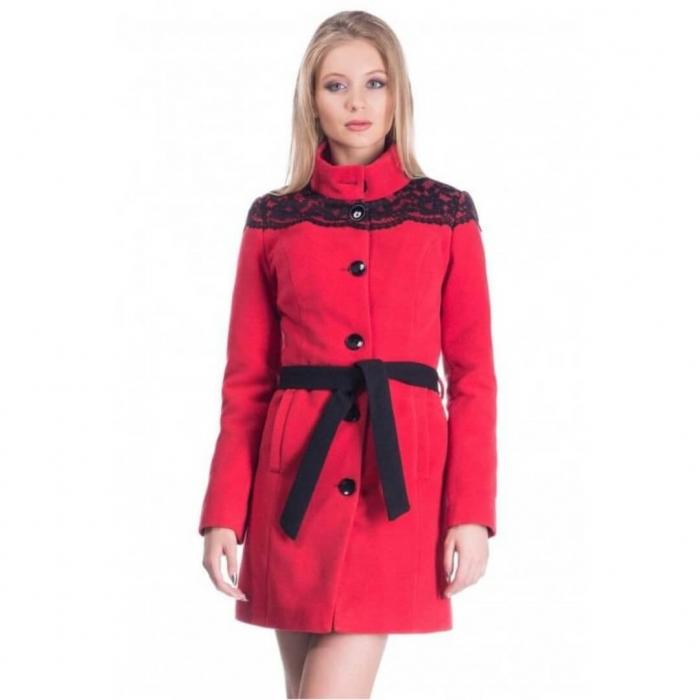 Palton rosu din stofa cu dantela neagra - Palton dama ieftin 2