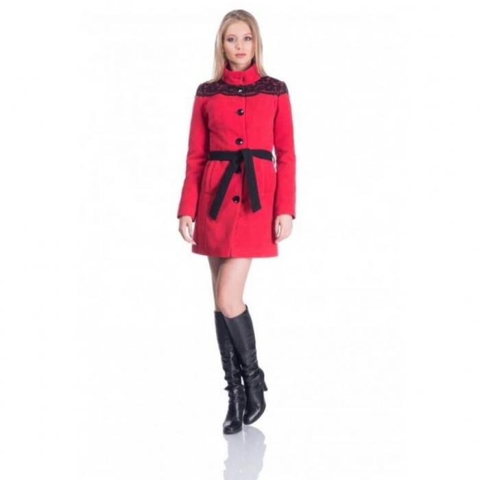 Palton rosu din stofa cu dantela neagra - Palton dama ieftin 3
