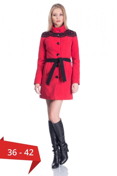 Palton rosu din stofa cu dantela neagra - Palton dama ieftin 0