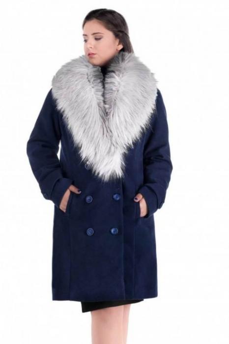 Palton elegant cu guler din blana Ambra, bleumarin/argintiu 1