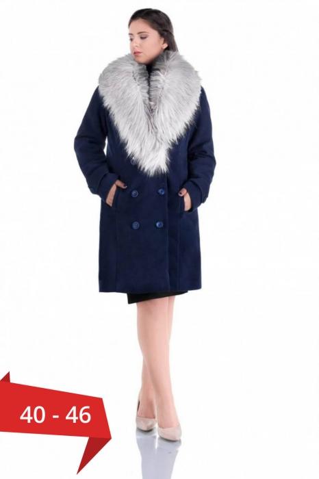 Palton elegant cu guler din blana Ambra, bleumarin/argintiu 0