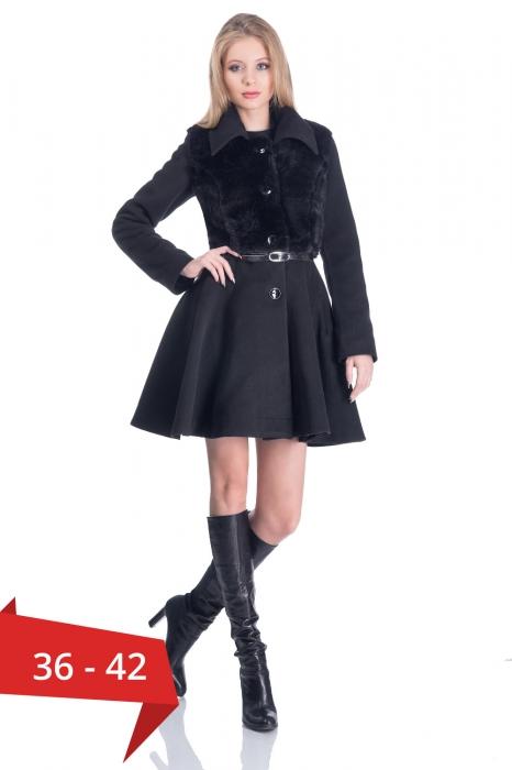 Paltoane scurte dama - Palton elegant scurt cu blanita neagra 0