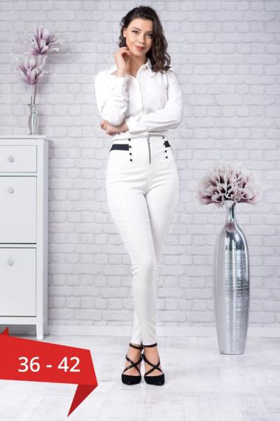 Pantaloni eleganti dama Vera - Pantaloni albi dama 0