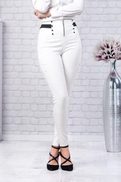 Pantaloni eleganti dama Vera - Pantaloni albi dama 1
