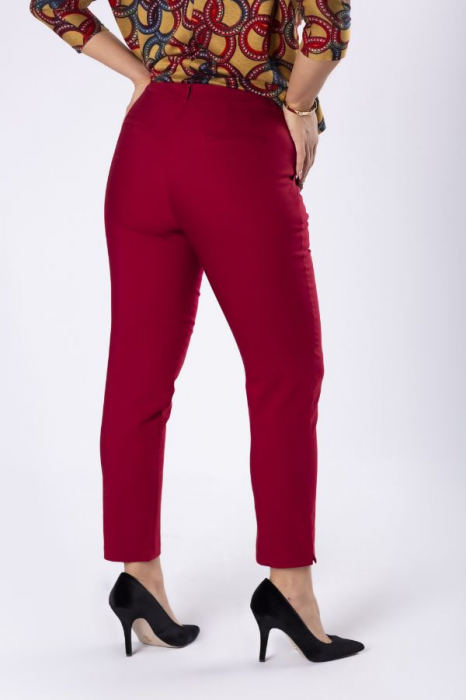 Pantaloni casual cu croiala conica grena 1