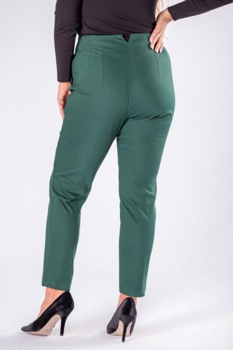 Pantaloni eleganti croi clasic cu pense verde 1