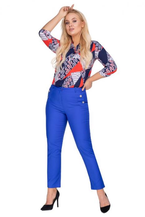 Pantaloni eleganti clasici cu croi conic, albastru 1