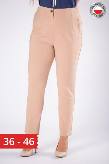 Pantaloni eleganti clasici cu pense, bej 0
