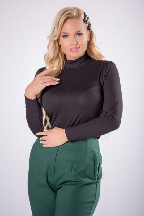 Pantaloni eleganti croi clasic cu pense verde 2