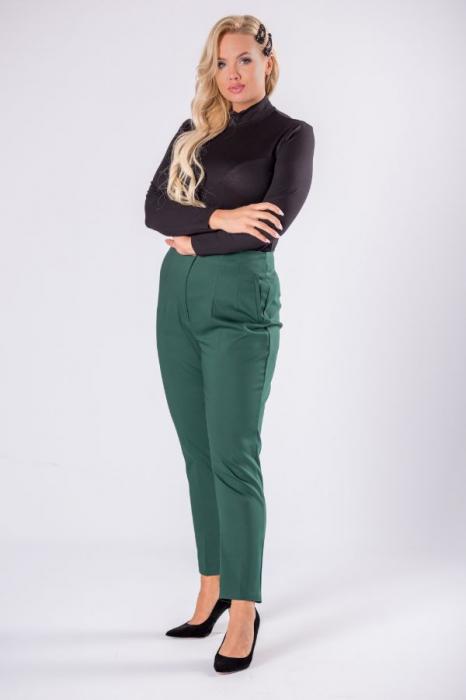 Pantaloni eleganti croi clasic cu pense verde 3