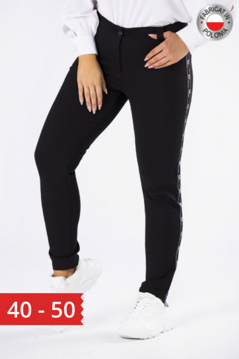 Pantaloni negri casual cu insertie pe picior Polonia 0