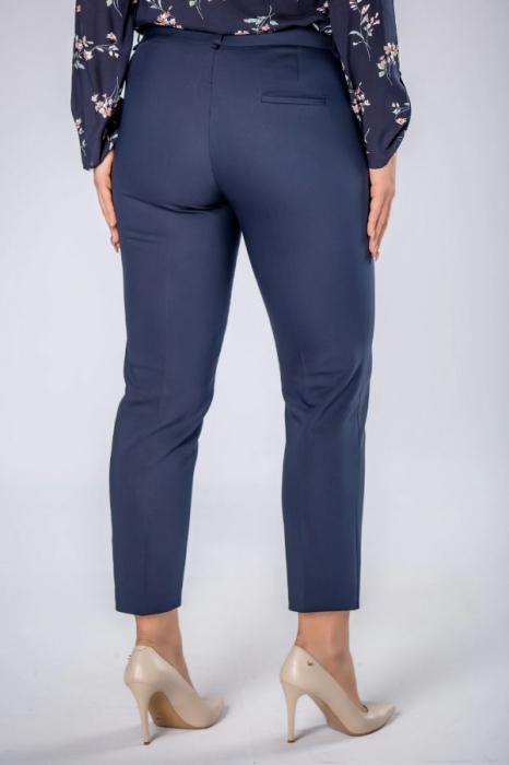 Pantaloni eleganti cu talie inalta bleumarin Polonia 2