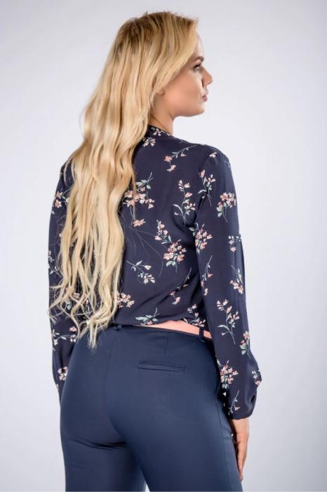 Pantaloni eleganti cu talie inalta bleumarin Polonia 1