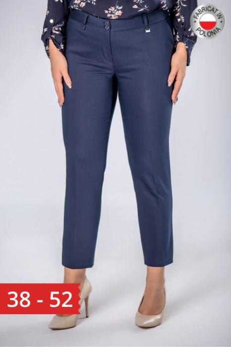 Pantaloni eleganti cu talie inalta bleumarin Polonia 0