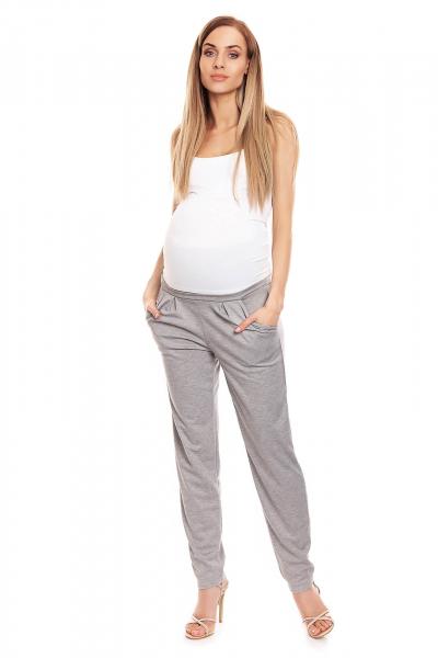 Pantaloni conici pentru gravide gri deschis - Pantaloni cu bata elastica 2