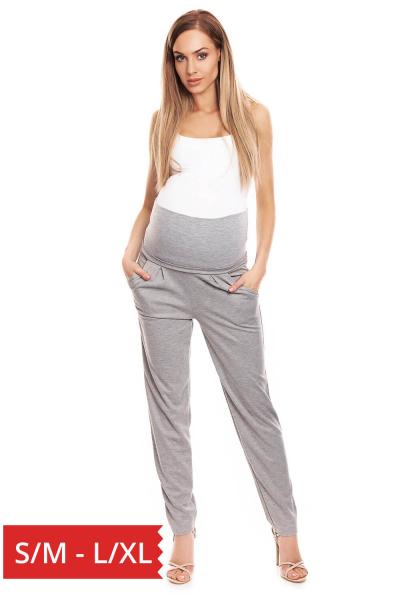 Pantaloni conici pentru gravide gri deschis - Pantaloni cu bata elastica 0