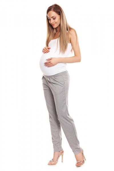 Pantaloni conici pentru gravide gri deschis - Pantaloni cu bata elastica 1