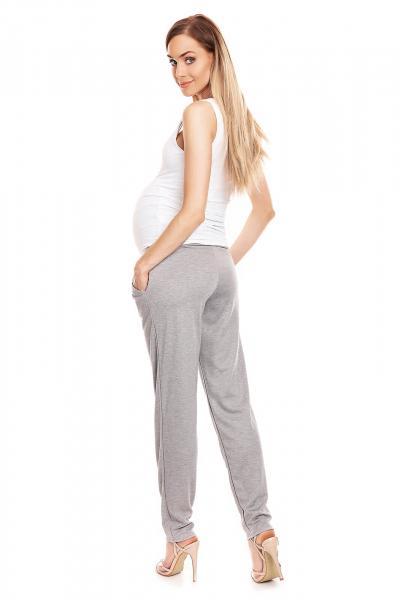 Pantaloni conici pentru gravide gri deschis - Pantaloni cu bata elastica 4
