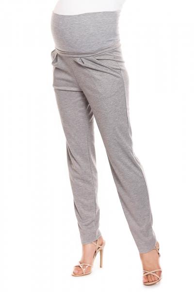 Pantaloni conici pentru gravide gri deschis - Pantaloni cu bata elastica 3