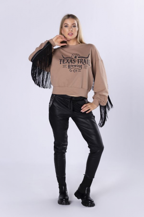 Pantaloni slim fit dama, aspect piele, negru 3