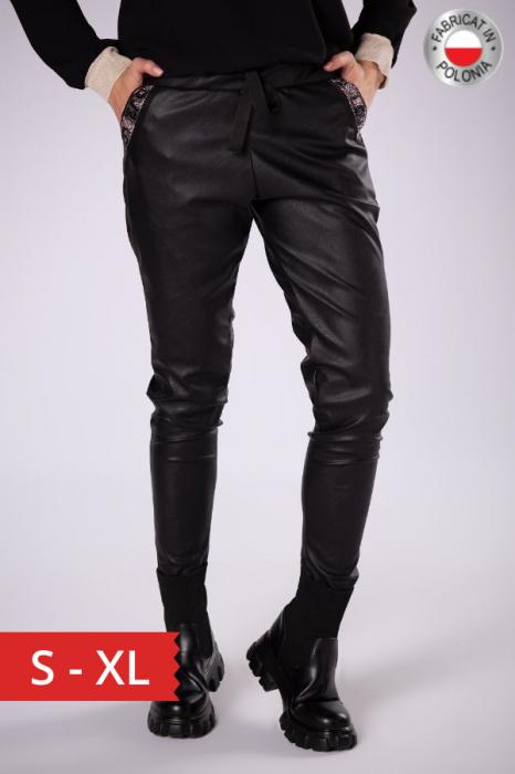 Pantaloni slim fit dama, aspect piele, negru 0