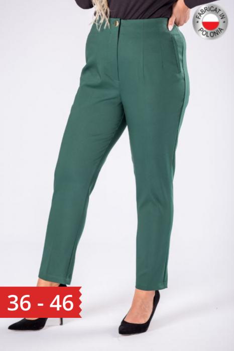 Pantaloni eleganti croi clasic cu pense verde 0