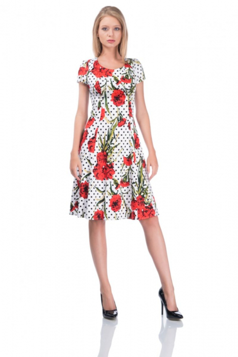 Rochie alba de vara din bumbac cu imprimeu floral - Marimi mari [0]