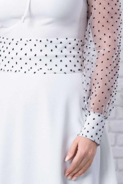 Rochie alba eleganta cu buline negre Tamara - Rochii albe de vara 2
