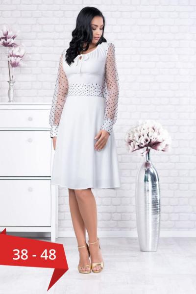 Rochie alba eleganta cu buline negre Tamara - Rochii albe de vara 0