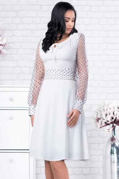 Rochie alba eleganta cu buline negre Tamara - Rochii albe de vara 1
