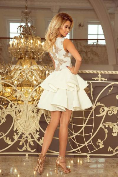 Rochie alba scurta de seara Charlotte - Rochii elegante scurte 1