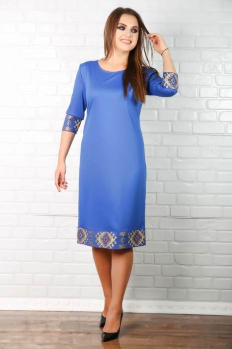Rochie albastra stilizata cu elemente traditionale [0]