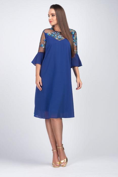 Rochie albastra eleganta din voal cu plasa si broderie - Marimi mari [0]