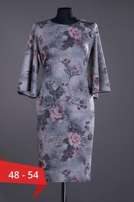 Rochii XXL ieftine - Rochie midi de zi cu imprimeu floral Melania gri 0