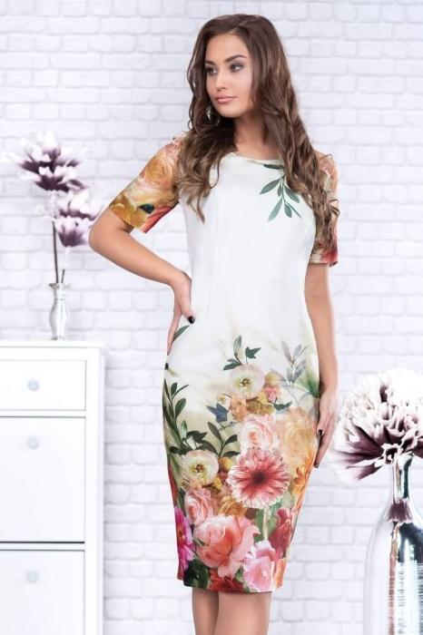 Rochii elegante de zi - Rochie eleganta midi imprimeu floral Oana alb 2